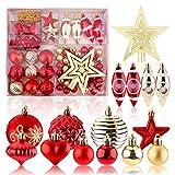 Adornos navideños Juego de 74 adornos navideños para decoración de árboles de Navidad Adornos de bolas navideñas inastillables de color rojo y dorado con colgantes para adornos navideños para colgar