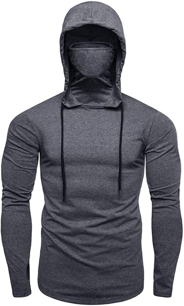 XXBR Hoodies for Mens, Fall Face_Cover Mouth Outdoor Drawstring Side Zipper Hooded Sweatshirts Muscles Workout Pullover