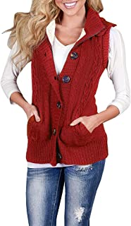 Womens Hooded Sweater Vest Sleeveless Button Down Cardigan Loose Cable Knit Warm Outerwear with Pockets