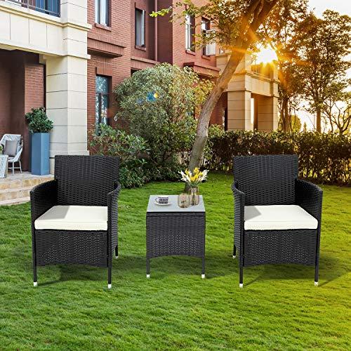 belupai Juego de muebles de jardín de polirratán para 2 personas, 1 mesa y 2 sillones, resistente a la intemperie, para jardín, balcón y terraza, color negro