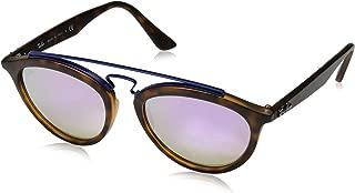 RAY-BAN RB4257 Gatsby II Round Sunglasses, Matte Havana/Mirror Gradient Lilac, 53 mm