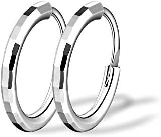 T400 925 Sterling Silver Hoop Earrings Large and Small 1.5mm Thick Diamond-cut Hoops Gift for Women Girls 10 20 30 40 50 6...