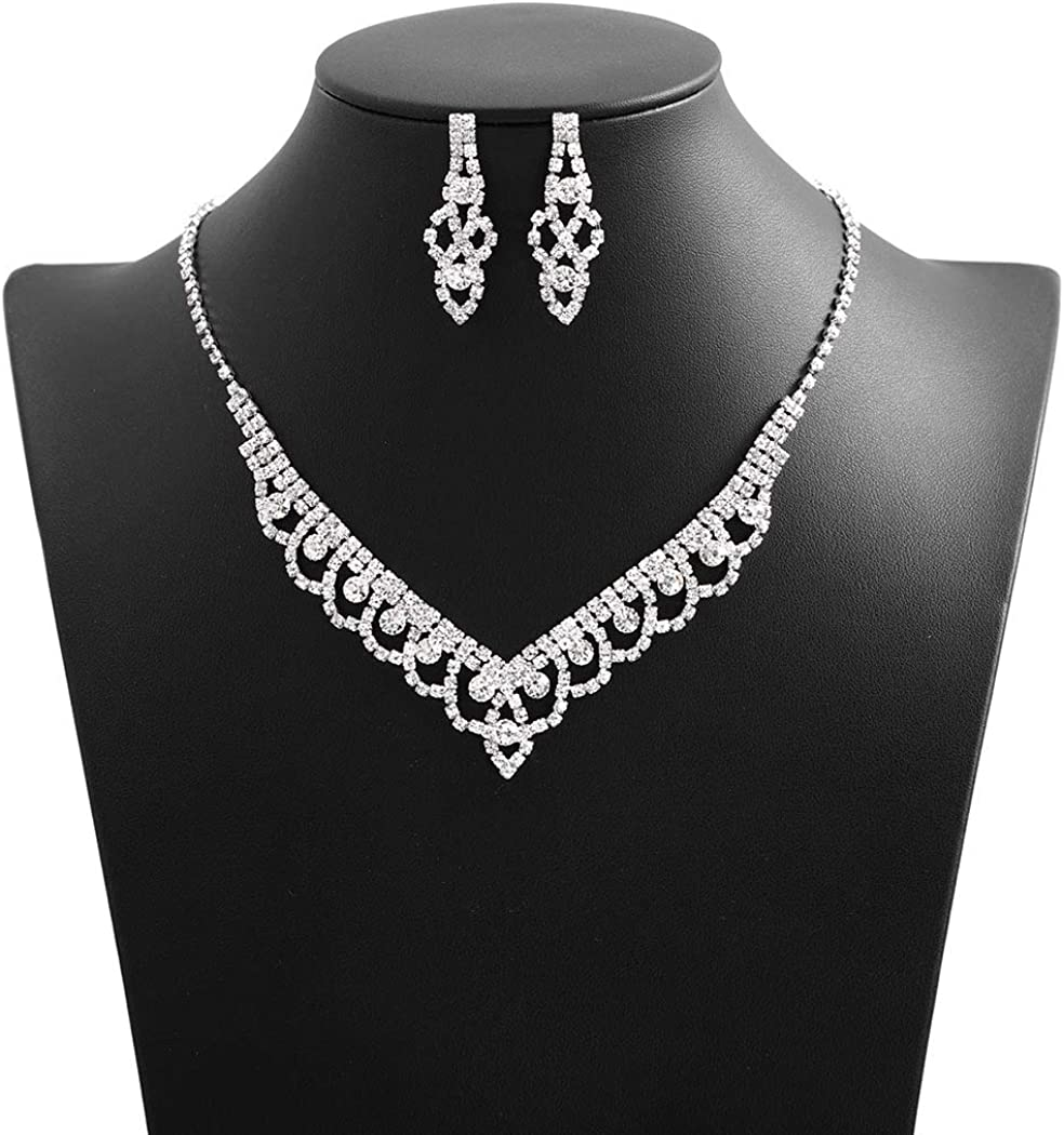 Campsis Wedding Bridal Necklace Set Crystal Rhineaton Necklace Earring Jewelry for Women and Girls