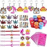 Tacobear 70pcs Cumpleaños Princesa Pulsera Anillo Llavero Corona Pinzas para Cabello Pegatinas Sellos Piñata Rellenos para Huevos de Pascua Suministros para Fiesta Princesa Regalos Cumpleaños