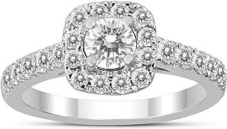 1 Carat Cushion Halo Diamond Engagement Ring 10K White Gold