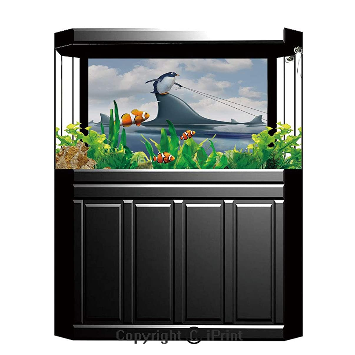 Aquarium Fish Tank Background,Shark,Fear Management Leadership Concept with A Penguin Holding Shark Humor Design Decorative,Blue Grey Dust,Decor Paper Green Water Grass Aquatic Style Like Real,W24.02