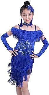 JUMERY- Elegant Soft Tassel Sparkling Latin Tango Fringe Dance Dress (Color : Pink, Size : 130cm)