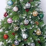 757 6 Pezzi Decorazioni Albero di Natale Palline di Plastica Bianco e Rosa Scatola di Palline di Natale Infrangibili con Gancio Ornamenti Decorativi Ciondoli Regali