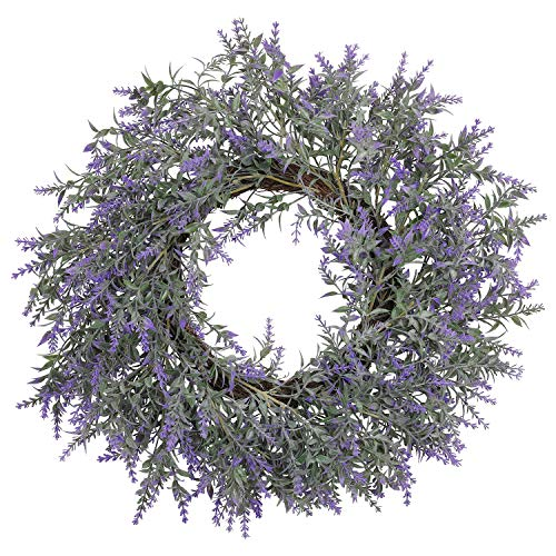 20 INCH Lavender Wreath for Front Door Artificial Lavender Wreath for All Seasons Indoor Outdoor Floral Wreath for Wedding Party Home Wall Decor