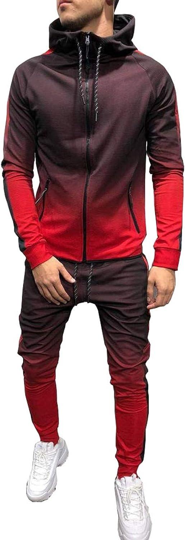 6556b6cecba79b Fashionmy Men's Tracksuits Gradient Sweatsuits Hooded Sports Jogging Suit  Suit Suit ed6247