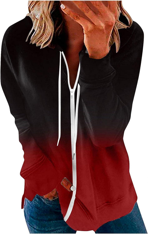 Jeepuch Hoodies for Women Long Sleeve Gradient Color Zip Up Sweatshirt Loose Pullover Tops Activewear Jacket with Pocket