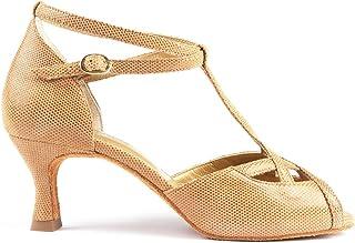 PortDance Salsa Tango PD505 Premium - Zapatos de baile para mujer - Color: camel/beige - Tacón: 5 cm Flare (pequeño) - Fab...