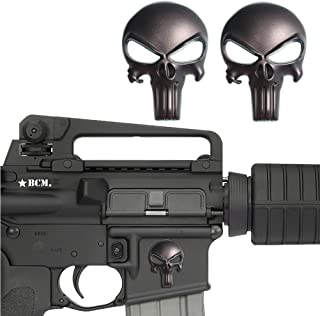 CREATRILL 2 Pack Magwell Metal Decal Sticker - Tactical Skull 1 inch by 1.38 inch