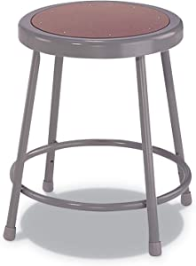 Alera IS6618G Industrial Metal Shop Stool, 18-Inch Seat Ht, Supports 300 lbs,Brown Seat, Gray Back/Base