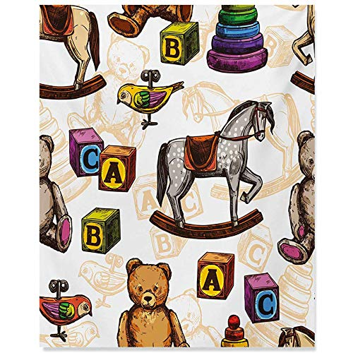 ScottDecor Vintage Modern Art Retro Style Kids Toys Rocking Horse Teddy Bear and Bird Illustration Print Paintings for Living Room Brown and Grey 20x28