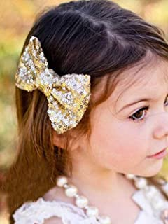 Unicra Large Hair Bow Clip Barrette Hair Pins Hair Accessories for Toddler Young Girl (Gold)