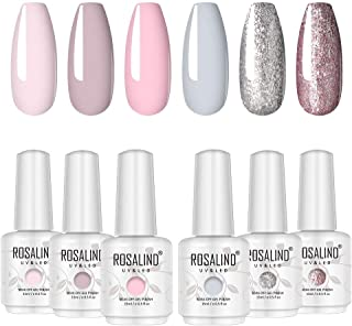 ROSALIND 15ml Gel Polish Nail Art Soak Off UV Set 6 PCS Glitter Shiny Colors and Pink Grey Semi Permanent Varnish Pastel N...