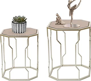 Joveco End Tables Set of 2 Coffee Table Gold Nightstands Indoor Outdoor Decorative Round Nesting Tables (Octagon Top)