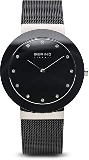 Time 11435-102 Ceramic Collection Slim Watch with Mesh Strap and Scratch Resistant Sapphire Crystal. Designed in Denmark.
