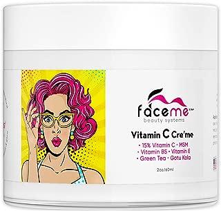 FACEME 15% Vitamin C Cream + Youth Promoting Antioxidants & Botanicals- Brighten, Plump, Smooth & Tone with Aloe Vera, Shea Butter, Jojoba, MSM, Vitamin E & B5, Green Tea and Gotu Kola. 2fl oz.