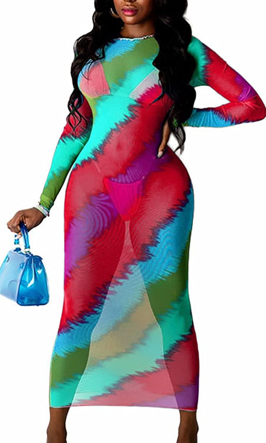 Sprifloral Women Long Sleeve Bodycon Dress - Sexy See Through Sheer Mesh Cover Up Ruched Dress Club Outfits