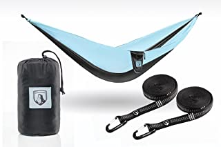 Outdoorser Single/Double Hammocks – Includes Tree Straps & Carabiners - Strong Ripstop Nylon Triple Stitched Seams - Ultralight Camping,  Backpacking,  Hiking - Portable Parachute Hammock