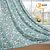 Traditional Aqua Floral Country Style Pattern Blackout Curtains for Living Room Curtains Blockout