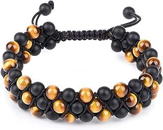 HASKARE Tiger Eye Stone Bracelet Men Women - Natural Energy Stone Essential Oil Lava Rock Black Onyx Tiger Eye Beads Bracelet Adjustable Couples