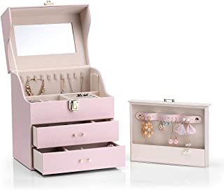 Vlando Large Jewelry Box Organizer for Necklaces Earrings Rings, Special Design of Necklaces Earrings Hanging Storage, Pink, Rectangle