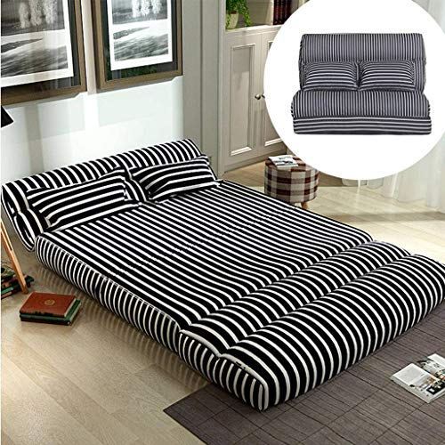 Japanese Folding Futon Mattress, Floor Mattress Metal Frame Sofa Bed Lazy Sofa for Small Apartment Dorm Room Game Chair -120x210cm(47x83inch)