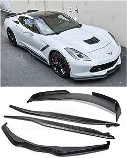 Replacement For 2014-2019 Corvette C7 | Z06 Stage 2 Front Bumper Lip Splitter With Side Skirts Rocker Panels & Rear Spoiler Full Assembly Combo Kit (ABS Plastic - Primer Black)