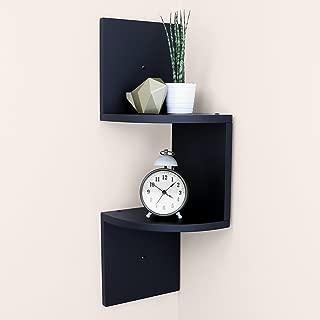 "Ballucci Small Corner Shelf 2 Tier (5 pcs), 7.75"" x 7.75"" Per Tier, Floating Wood Corner Shelves for Bathroom Living Room or Office, Black"