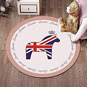 "ZRONGQF Round Rug for Living Room Children Round Rugs Nursery Circle Carpet Kids Play Mat Nursery Decor Baby Crawling Rug Teen Room Decor Multi Style 1103 (Color : K, Size : 6'7""(200cm))"