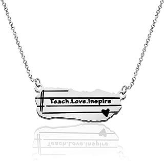 KUIYAI Teach Love Inspirful Bar Necklace Teach Inspirational Love Jewelry Teacher، هدية تقدير مدرس الشكر، هدية مجوهرات للمعلم