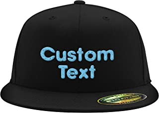 Custom Embroidered Flexfit 6210 Structured Flat Bill Fitted - Personalized Text - Your Design Here