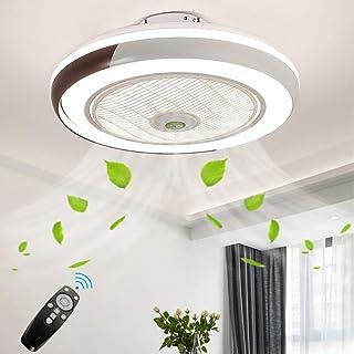 Ventilador De Techo Con Iluminación Control Remoto Regulable Ultra Silencioso Ventilador LED Luz Techo Moderna Invisible Para El Dormitorio Habitación Niños Salón Comedor Lámpara Techo Sala Ø50cm 36W