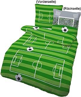 Ren Force Cama Infantil de fútbol, parte quemador & Tor en verde, gris 2piezas–Tamaño 80x 80+ 135x 200cm–100% algodón