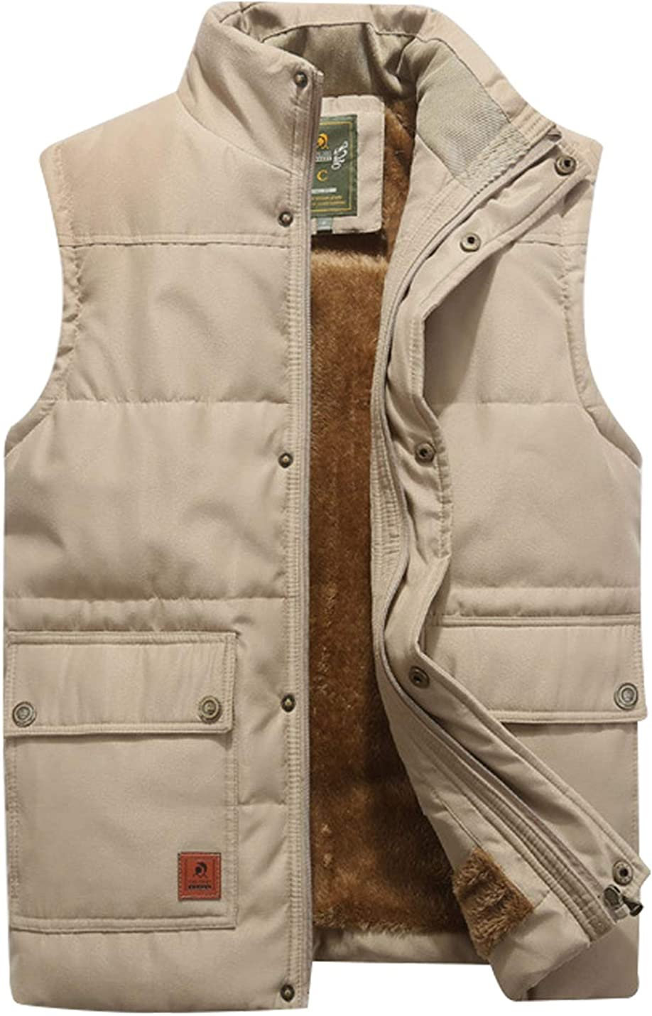 Omoone Men's High Collar Fleece Lined Gilet Warm Padded Jacket Vest Waistcoat