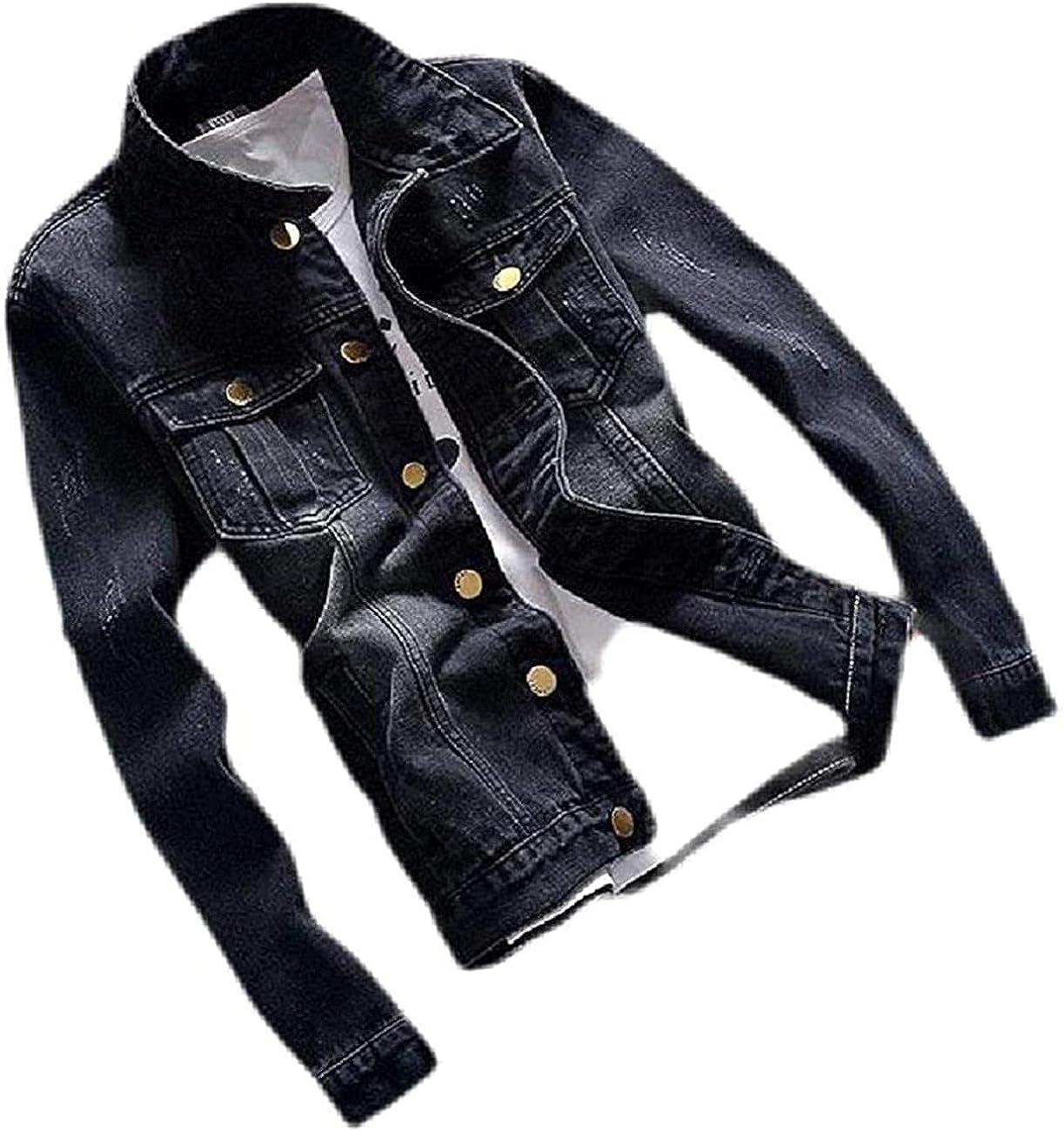 Men's Vintage Slim Fit Button Pockets Today's only Denim Price reduction Up Jacket Coat