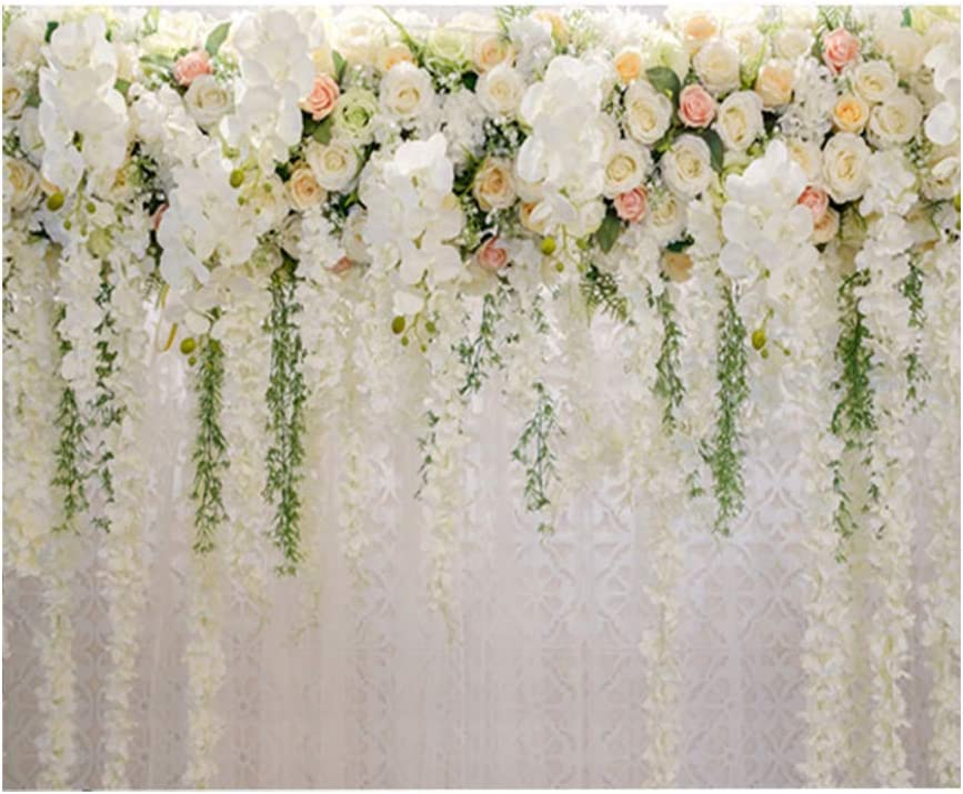 CALIDAKA Bridal Shower Large Wedding Floral Wall Backdrop,PC Print White and Green Wisteria Rose Flowers Dessert Table Photo Booth for Photography