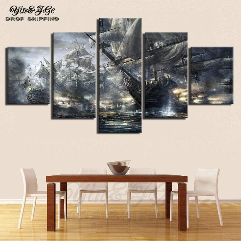 SEAL限定商品 Fbhfbh 3D オンラインショッピング Canvas Paintings Living Room P Murals 5 Sailing Ships