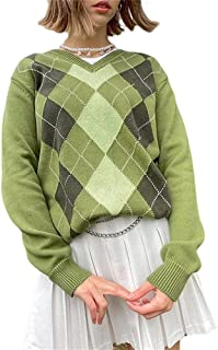Women Argyle Knitted Sweater Top Y2K Color Block Long Sleeve V-Neck Knitwear for Teen Girls Streetwear