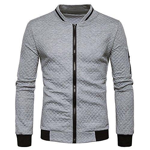 Aiserkly Herren Plaid Cardigan Strickjacke mit vollständigem Reißverschluss Geeignet für Sport Freizeit Sweatshirt Sportshirt Tops Jacke Mantel Outwear Warmth Grau M