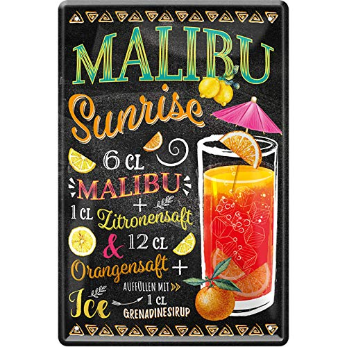 """schilderkreis24 – Blechschild Cocktail Rezept """"Malibu Sunrise"""" Deko Bar Küche Kneipe Pub Theke Geschenk Geschenkidee Geburtstag Weihnachten Alkohol Longdrink Tonic Spirituosen Trinker 20x30 cm"""