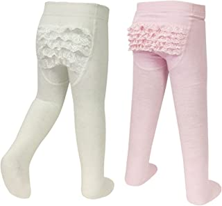 2-Pair Little Girl Ruffle Bottom Cotton Tights (Pink & Ivory)