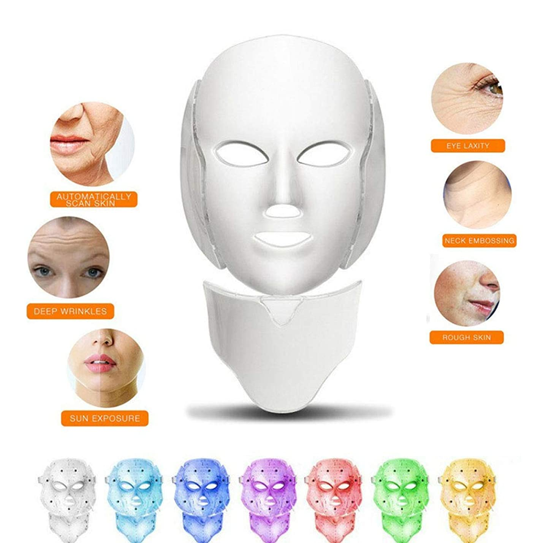 オデュッセウスはさみ収益赤色光光子療法機7色ledフェイスマスク+首、肌の若返りしわにきび除去フェイシャルスパ美容機器、ホワイト