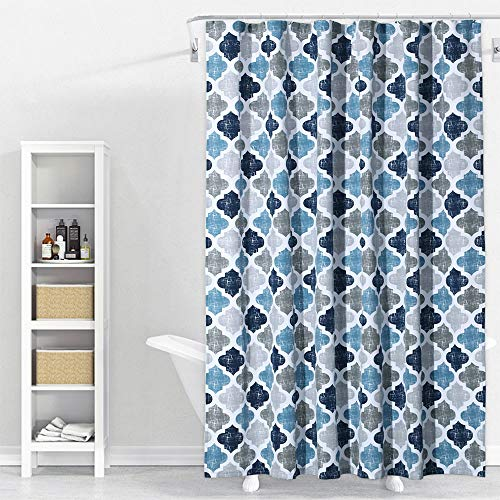 Shower Curtain, Geometric Quatrefoil Patterned Modern Poly-Cotton Farmhouse Fabric Shower Curtain for Bathroom, Navy/Blue/Grey, 72x72 Inches