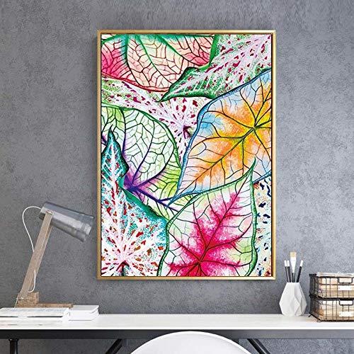 WADPJ muurkunst canvas schilderkunst Nordic stijl blad potlood afbeeldingen gedrukt modulaire moderne posters woonkamer huis decoratie 50 x 70 cm x 1 st. Geen lijst