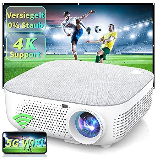 WISELAZER Beamer Full HD Beamer 4K Native 1080P, Versiegelt WiFi Uhd Led Heimkino Beamer, Video Projektor Kompatibel mit HDMI / USB / TV-Box / Smartphone / PC / Laptop