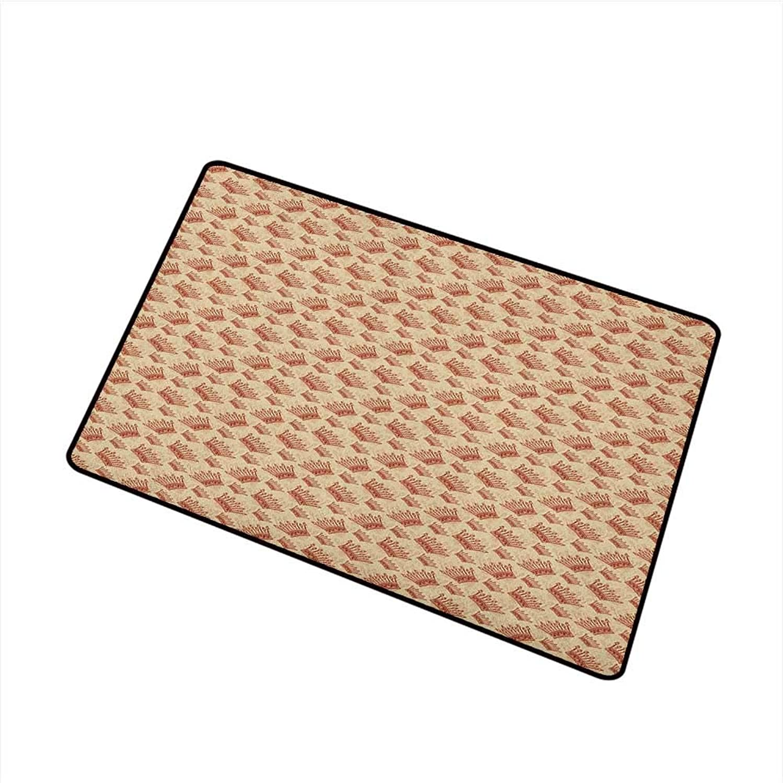 Wang Hai Chuan Crown Universal Door mat Royalty Pattern with Ornamental Motifs Medieval European Culture Inspirations Door mat Floor Decoration W29.5 x L39.4 Inch Brown Pale Brown